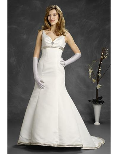 A-Line/Princess V-neck Chapel Train Satin wedding dress (WD6404)
