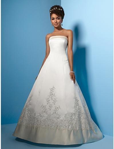 A-Line/Princess Strapless Chapel Train Satin wedding dress (WS0015)