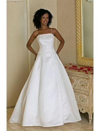 A-line/Princess Spaghetti Straps Chapel Train Satin wedding dress for brides 2010 style(WDA0148)