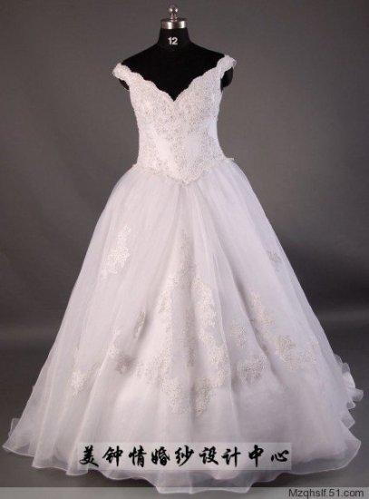 A-Line/Princess v-neck Strapless Chapel Train Chiffon wedding dress (LF0049)