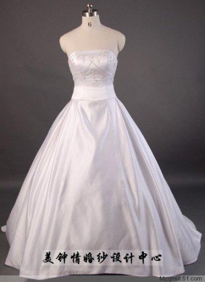 A-Line/Princess Strapless Chapel Train Satin wedding dress (LF0050)