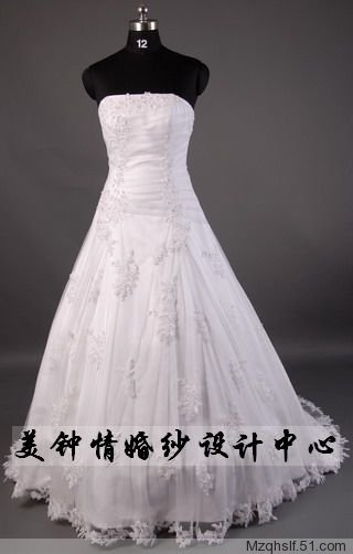 A-Line/Princess Strapless Chapel Train Satin wedding dress (LF0056)