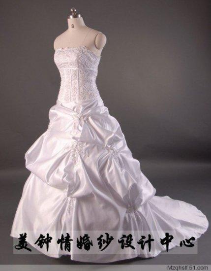 A-Line/Princess Strapless Chapel Train Satin wedding dress (LF0061)