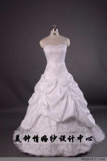 A-Line/Princess Strapless Chapel Train Satin wedding dress (LF0065)