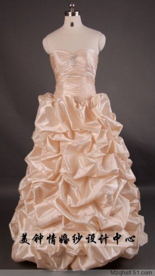 A-Line/Princess Sleeveless Sweetheart Floor Train Satin wedding dress (LF0067)