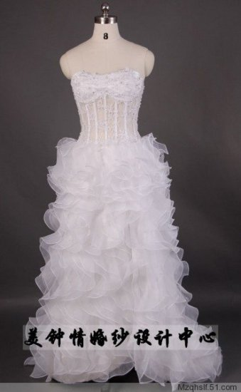 A-Line/Princess Strapless Chapel Train Satin wedding dress LF0069)