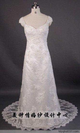 A-Line/Princess V-neck Capped Chapel Train Satin wedding dress (LF0070)