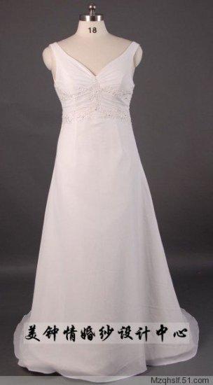 A-Line/Princess V-neck Sleeveless Chapel Train Satin wedding dress (LF0071)