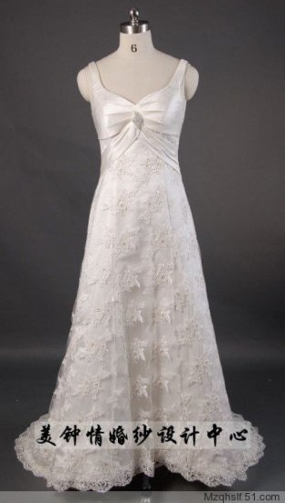A-Line/Princess V-neck Chapel Train Satin wedding dress (LF0074)