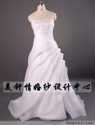 A-Line/Princess Strapless Chapel Train Satin wedding dress (LF0075)