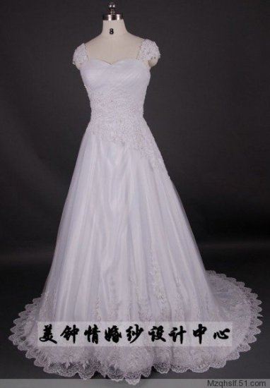 A-Line/Princess Capped Sweetheart Chapel Train Satin wedding dress (LF0077)