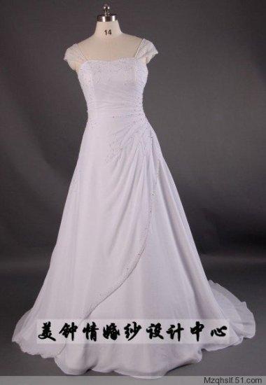 A-Line/Princess Capped Sweetheart Chapel Train Satin wedding dress (LF0079)