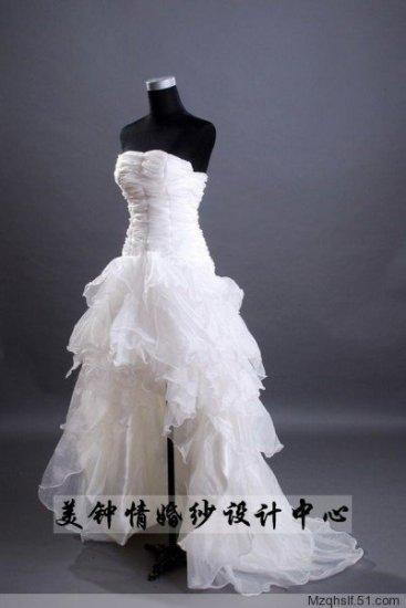 A-Line/Princess Strapless Cocktail Train Satin wedding dress (LF0081)