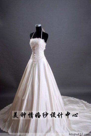 A-Line/Princess Strapless Chapel Train Satin wedding dress (LF0084)