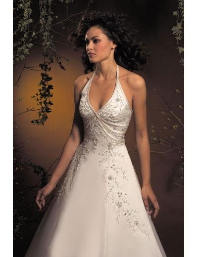 A-Line/Princess Halter Top Chapel Train Satin wedding dress for brides new style(WDA1782)