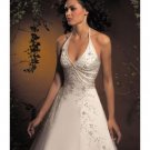 A-Line/Princess Halter Top Chapel Train Satin wedding dress for brides new style(WDA1782)