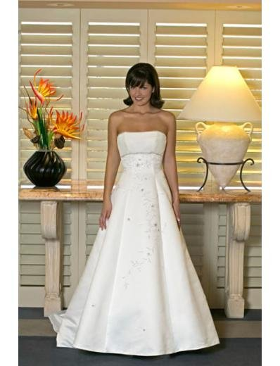 A-line/Princess Strapless Chapel Train Satin wedding dress for brides new style(WDA0141)