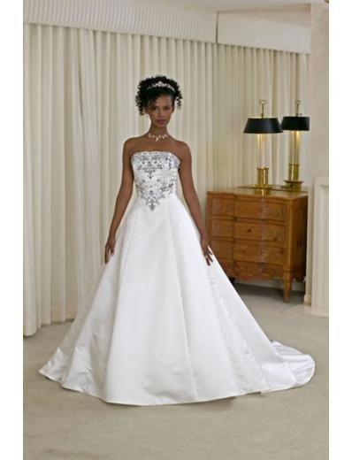 A-line/Princess Strapless Chapel Train Satin wedding dress for brides new style(WDA0139)
