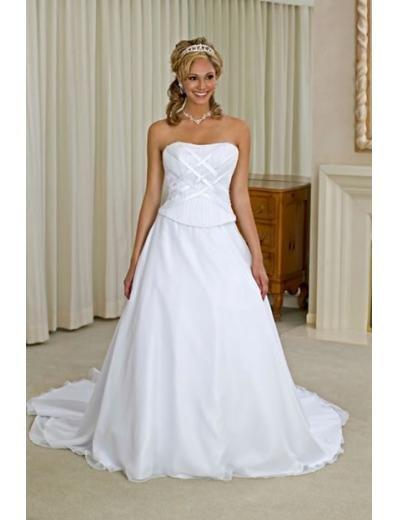 A-line/Princess Strapless Chapel Train Chiffon wedding dress for brides new style(WDA0138)