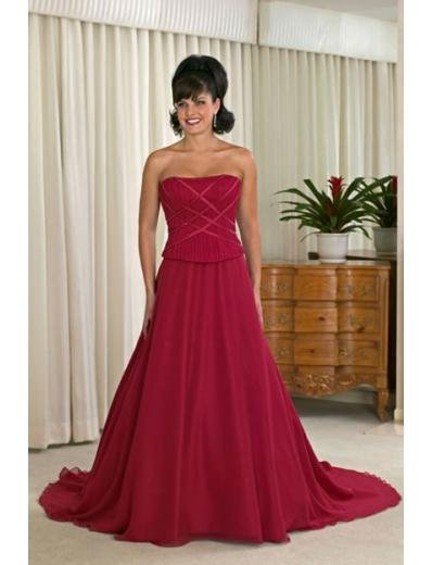 A-line/Princess Strapless Chapel Train Satin wedding dress for brides new style(WDA0137)