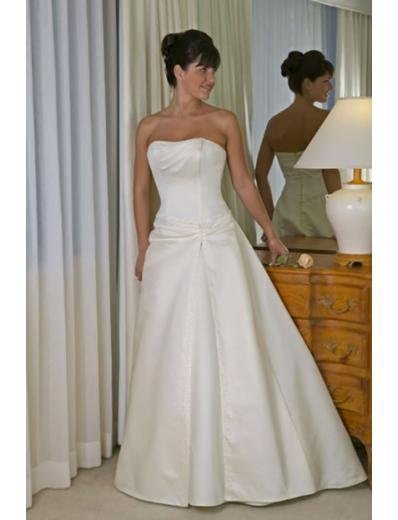 A-line/Princess Strapless Chapel Train Satin wedding dress for brides new style(WDA0136)