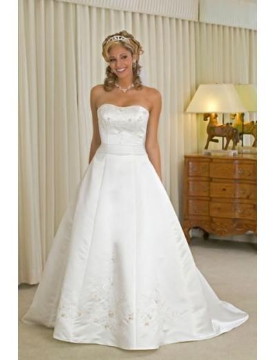 A-line/Princess Strapless Chapel Train Satin wedding dress for brides new style(WDA0134)