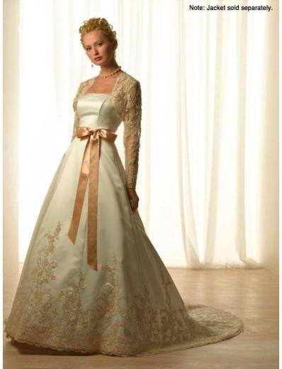 A-Line/Princess Strapless Chapel Train Satin wedding dress for brides new style(WDA1778)