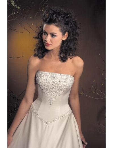 A-Line/Princess Strapless Chapel Train Satin wedding dress for brides new style(WDA1783)