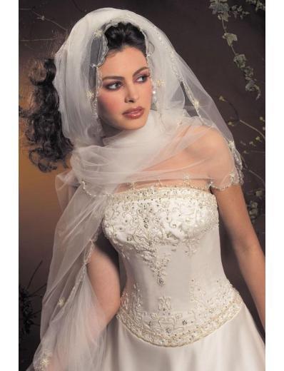 A-Line/Princess Strapless Chapel Train Satin wedding dress for brides new style(WDA1784)