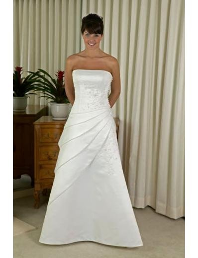 A-line/Princess Strapless Chapel Train Satin wedding dress for brides new style(WDA0147)