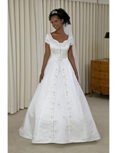 A-line/Princess Off-The-Shoulder Chapel Train Satin wedding dress for brides new style(WDA0145)