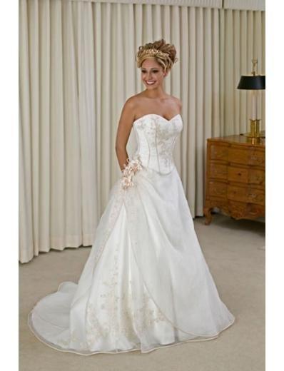 A-line/Princess SweetHeart chapel Train Satin wedding dress for brides new style(WDA0144)