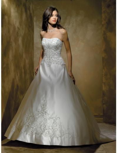 A-Line/Princess Strapless Chapel Train Satin wedding dress for brides new style(WDA1789)