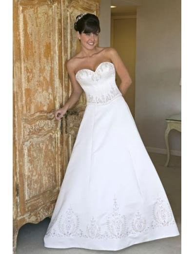 A-line/Princess SweetHeart Chapel Train Satin wedding dress for brides new style(WDA0143)