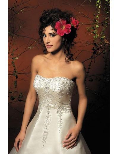A-Line/Princess Strapless Chapel Train Satin wedding dress for brides new style(WDA1787)