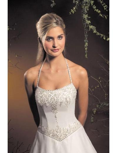 A-Line/Princess Halter Top Chapel Train Satin wedding dress for brides new style(WDA1786)
