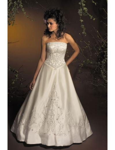 A-Line/Princess Strapless Chapel Train Satin wedding dress for brides new style(WDA1785)