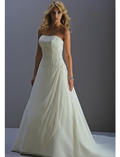 A-Line/Princess Strapless Chapel train Chiffon wedding dress for brides new style(WDA0715)