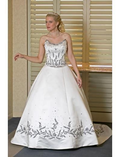 A-line/Princess Sweetheart Chapel Train Satin wedding dress for brides new style(WDA0135)