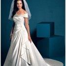 A-Line/Princess Off-the-shoulder Chapel Train Satin wedding dress for brides new Style(WDA1689)