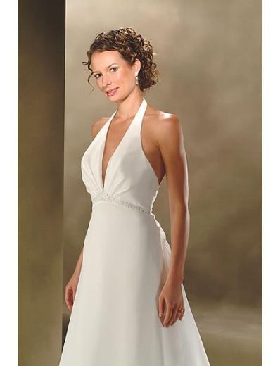 A-Line/Princess Halter Top Chapel Train Satin wedding dress (SEW0018)
