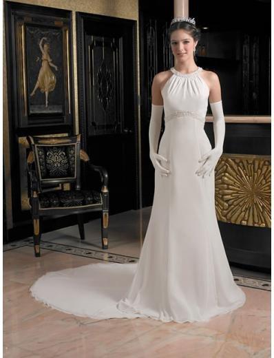 A-Line/Princess Halter Top Chapel Train Satin wedding dress (cwd0121)