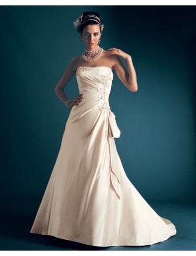 A-Line/Princess Strapless Chapel Train Satin wedding dress for brides new Style(WDA1688)