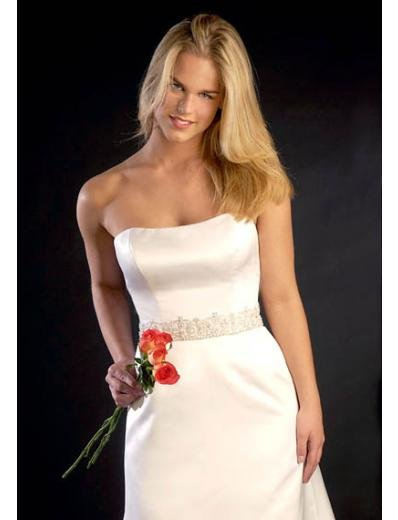 A-Line/Princess Strapless Chapel train Satin wedding dress for brides new style(WDA0707)