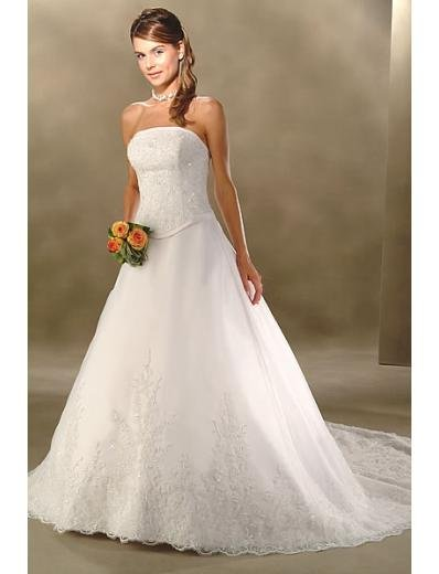 A-Line/Princess Strapless Cathedral Train Satin wedding dress for brides new style(WDA0016)