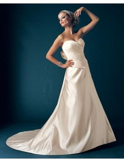 A-Line/Princess Sweetheart Chapel Train Satin wedding dress for brides new Style(WDA1687)