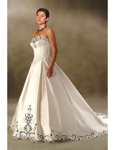 A-Line/Princess Strapless Chapel Train Satin wedding dress for brides new style(WDA0014)
