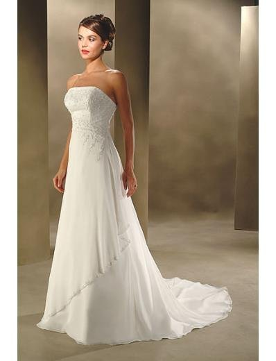 A-Line/Princess Strapless Chapel Train Satin wedding dress for brides new style(WDA0019)