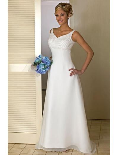 A-line/Princess V-neck Chapel Train Satin wedding dress for brides new style(WDA0160)