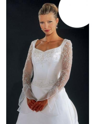 A-Line/Princess Scoop Chapel Train Satin wedding dress for brides new style(WDA1776)